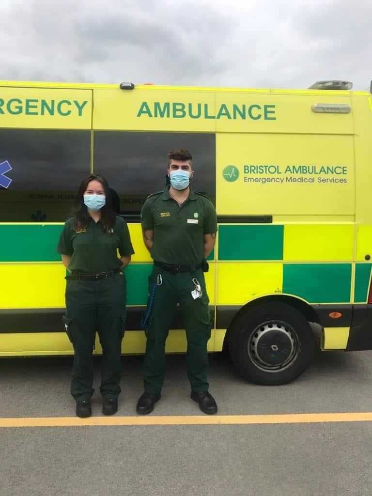 Emma Pingstone and Jack Swan of Bristol Ambulance